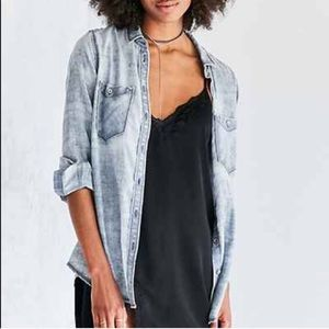 BDG Nelly Faded Chambray Plaid Shirt